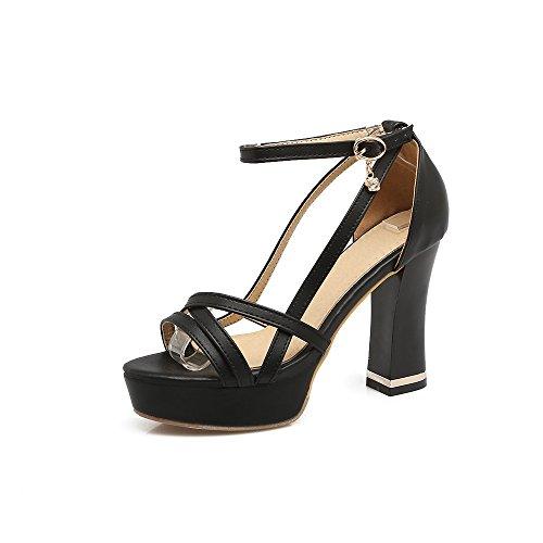 QIN&X Bloque de Mujer Tacones Peep Toe Sandalias de Plataforma Black