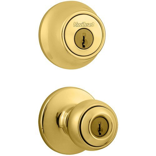 Kwikset 690P 3 6AL RCS 690 Polo Keyed Entry Knob And Single Cylinder Deadbolt Combo Pack, Polished Brass by Kwikset