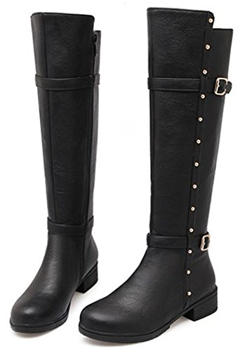 IDIFU Women's Comfy Studded Buckled Mid Chunky Heels Boots Side Zip Up Knee High Riding Booties