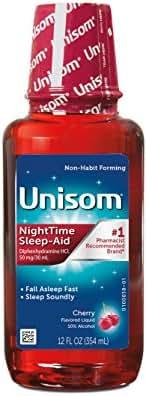 Unisom Nighttime Sleep-Aid, 50 mg Diphenhydramine HCI, Cherry-Flavored Liquid, 12 Ounce Bottle