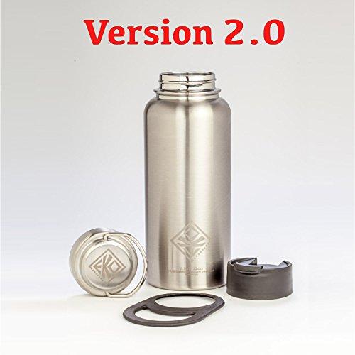 VERSION 2.0: 32oz Vacuum Insulated Stainless Steel Water Bottle -NO PLASTIC- Includes Flip Lid & Lug Handle (fits Hydro Flask) EKOTOLOGY Vesuvius 32 oz/0.95 liter