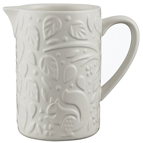 Mason Cash In the Forest Creamer Jug, Durable Stoneware Milk Pitcher, Intricate Embossed Design, 5-1/2-Fluid Ounces, Microwave and Dishwasher Safe, Cream