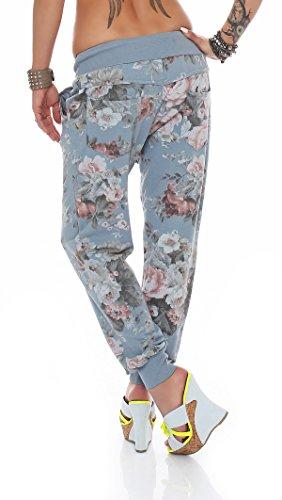 ZARMEXX BaggyPantalones deportivos para mujer pantalones Boyfriend Ocio Pantalones Harén Pantalones Pantalones de deporte con flor de impresión azul claro