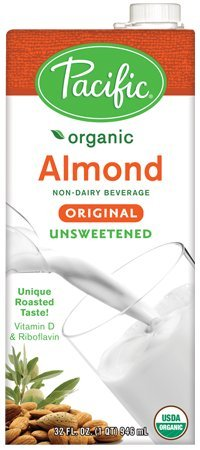 Pacific Foods, Almond Beverage, Unsweetened, Low Fat, Organic, 32-Ounces, 12-Pack