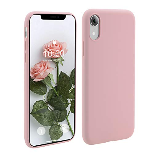 OneLeaf Phone Case for Apple iPhone XR, Slim Fit Anti-Slip Liquid Silicone Rubber and PC Hybrid Protective Phone Case Cover with Anti-Scratch Surface Finishing (Pink)