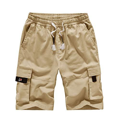 (chmhy Men's Beach Shorts Swim Shorts (Regular and Extended Size) Khaki 8XL)
