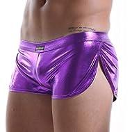 Men Sexy Leather Underwear Boxer Briefs, Trunk Touch Underpants Low Rise Comfort Shorts Underpants