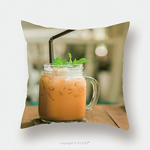 Custom Satin Pillowcase Protector Milk Thai Tea In Glass Mugs On Wood Table 290066756 Pillow Case Covers Decorative by chaoran