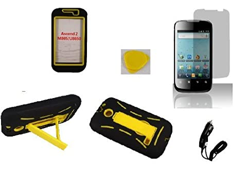 Black Yellow Armor hybrid kickstand Faceplate Cover Phone Case + Yellow Pry Tool + Screen Protector + Car Charger For Huawei Ascend 2 M865c (Cricket/US Cellular) / Huawei Prism U8651 (T-Mobile) / Huawei (Huawei Ascend Ii M865c)