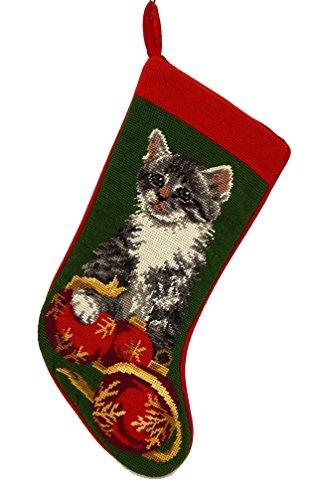 Kitten Christmas Stocking- Wool Needlepoint