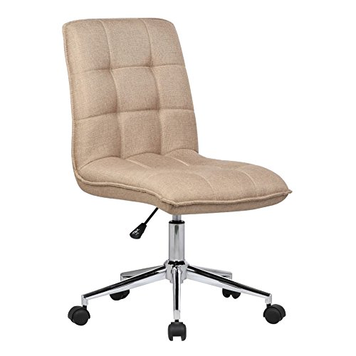 Porthos Home SKC014C NAT Leanne Task Chair with Height Adjustment, 360° Swivel, Steel Base and Tufted Polyester Upholstery (Armless Design for Small Homes and Offices), One Size, Natural
