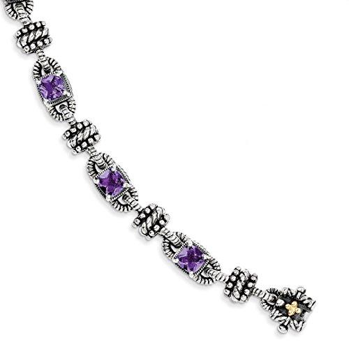 ICE CARATS 925 Sterling Silver 14k Purple Amethyst Bracelet 7.50 Inch Gemstone Fine Jewelry Gift For Women Heart by ICE CARATS (Image #3)