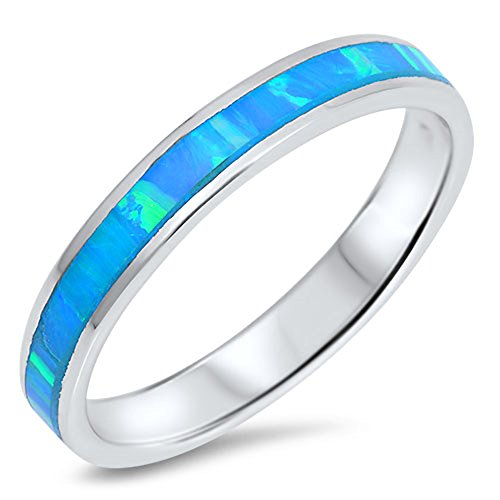 Blue Simulated Opal Thin Stackable Eternity Ring .925 Sterling Silver Band Size 5 ()