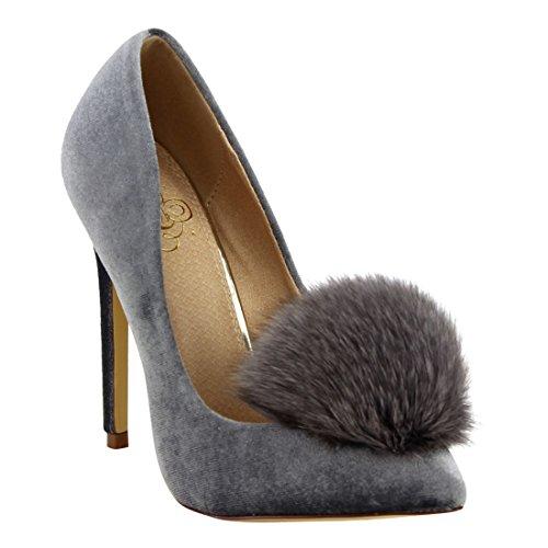 Stiletto Heel Slide (Liliana Affair Velvet Pointy Toe Stiletto High Heel Fur Pom Slip On Pump Slide Shoe Gray)
