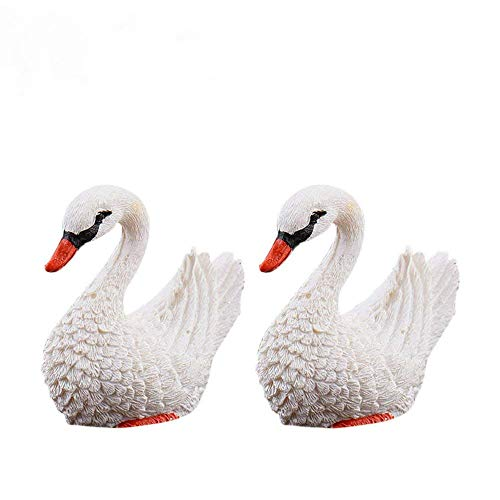 Danmu 2pcs Mini Resin Swans Fairy Garden Micro Landscape Home Garden Decoration Plant Pots Bonsai Craft Decor