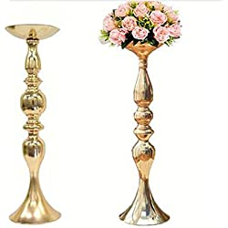 "LANLONG 2pcs Gold Metal Candle Holders 50cm/20'' Stand Flowers Vase Candlestick As Road Lead Candelabra Centre Pieces Wedding Decoration (Gold, 19.6"")"