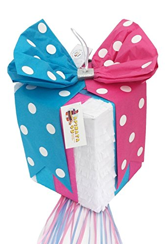 APINATA4U Gender Reveal Gift Box Pinata Traditional Whack & Pull Strings (Gender Reveal Box With Balloons)