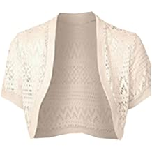 FLCH+YIGE Womens Casual Short Lace Thin Front Open Shawl Jacket
