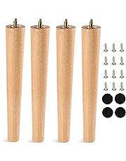 Houten tafelpoten, ronde meubelpoten van hout, 4 stuks, massief hout, conisch vervanging, meubelpoten met montageplaten en schroeven voor bank, bed, kast, bank, stoel