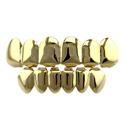 Hiphop Teeth Set Smooth Plane Teeth Braces Top & Bottom Teeth Body Jewelry Halloween Cosplay Party Gift]()