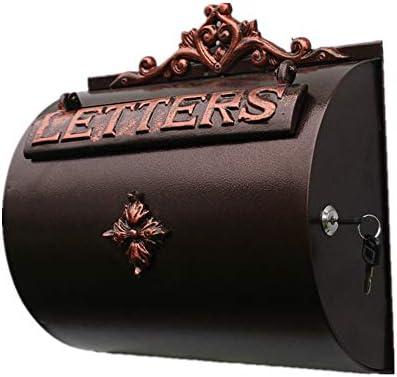 メールボックス キャストアルミレターボックスヴィラの装飾のために文字スタンプ新聞ヨーロッパスタイルのコートヤードメールボックスを壁掛け 手紙を受け取るため (Color : As Shown, Size : 33x12.5x32.5cm)