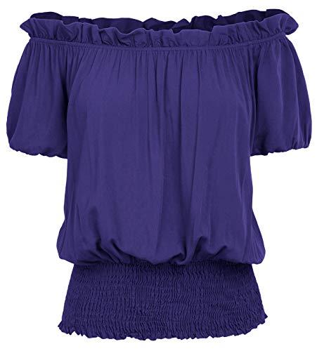 Women Black Renaissance Peasant Blouse Ruffle Pirate Boho Tops T Shirts XL Royal Blue]()