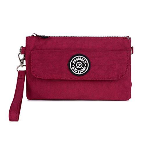 tianhengyi Mujer Multiusos Wristlet Bolso Monedero Teléfono Bolso De Embrague Con Correa Para El Hombro Rojo