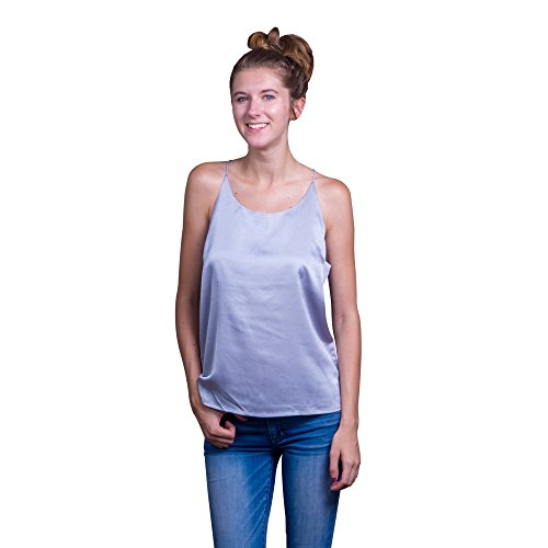 Lace Republic Sexy Silk-Like Camisole Tops for Women, Silky Club Wear Spaghetti Strap Racerback Fashion Cami Tanks - Assorted Colors, Sizes XS, S, M, L, XL (17MG029) (Grey) (X-Large) (Silk Scoop Camisole)