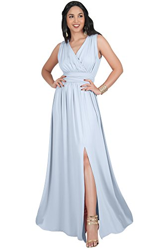 KOH KOH Plus Size Womens Long Bridesmaid Wedding Guest Cocktail Party Sexy Sleeveless Summer V-Neck Evening Slit Split Day Full Floor Length Gown Gowns Maxi Dress Dresses, Gray/Grey XL 14-16