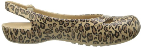Crocs Mujeres Jayna Leopard Estampado Slingback Flat Gold / Black
