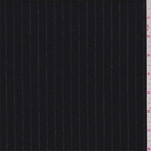 (Black/Grey Pinstripe Wool Flannel, Fabric by The Yard)