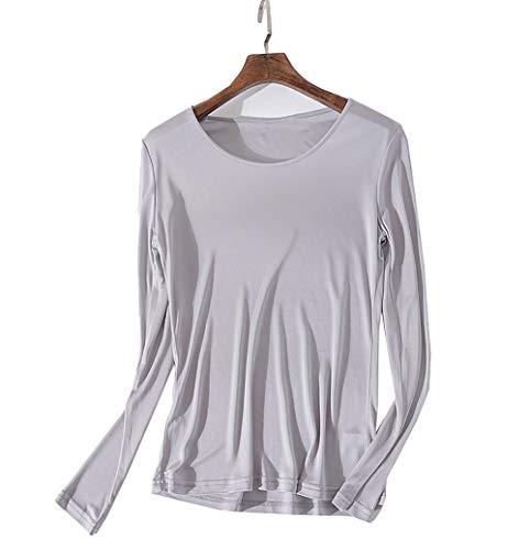 狼具体的に技術的なシルク クルーネック Tシャツ レディース 長袖 6色 シルク100% silk100% シンプル 一枚着用 重ね着 シンプル オシャレ 肌に優しい 敏感肌 低刺激 快適 保湿