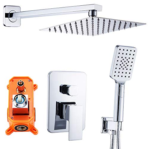 - HEABLE Shower Faucet Set Complete Chrome, Bathroom Luxury Rain Mixer Shower System Combo Set Wall Mounted Rainfall Shower Head with Handheld Spray (Contain Shower Faucets Rough-In Valve Body and Trim)