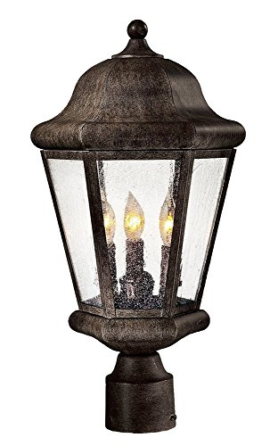 Minka Great Outdoors 8616-A61 Taylor Court - Three Light Outdoor Post Mount, Vintage Rust Finish with Clear Seedy Glass
