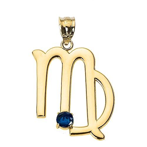Astrology Jewelry Personalized 10k Yellow Gold Genuine Blue Sapphire September Birthstone Virgo Zodiac Charm Pendant