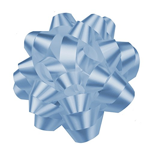 Premium Confetti Gift Wrap Bows, 4'' (10 Pack, Light Blue) by Emerald Craft & Hobby