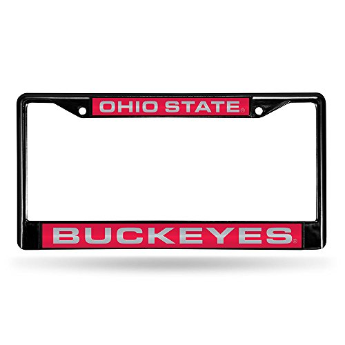 State License Plate (NCAA Ohio State Laser Chrome Frame, Black, 15 x 8