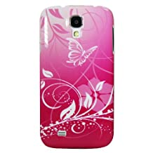 Exian S4017-Pink Samsung Galaxy S4 Case Butterfly and Flowers Pink-Retail Packaging