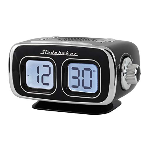 Large Display LCD AM/FM Retro Clock Radio USB Bluetooth Aux-in Bedroom Kitchen Counter Small Footprint SB3500 (Black) (Vintage Clock Radio With Alarm)