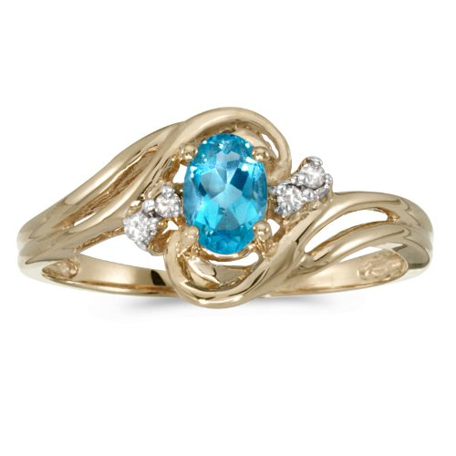 0.44 Carat ctw 14k Gold Oval Blue Topaz & Diamond Bypass Swirl Engagement Anniversary Fashion Ring - Yellow-gold, Size 6.5 - Diamond 10k Gold Swirl Ring