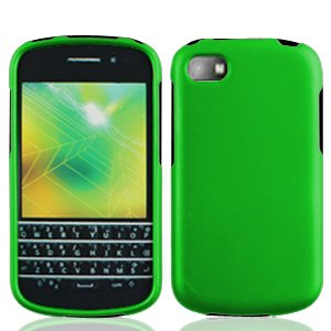 LF Green Hard Case Protective Cover, Lf Stylus Pen and Lf Screen Wiper Bundle Accessory for Blackberry Q10 (AT & T, T Mobile, Sprint, (Green Blackberry Faceplates)