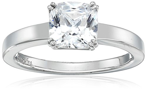 Platinum-Plated Silver Cushion-Cut Solitaire Ring made with Swarovski Zirconia, Size 6