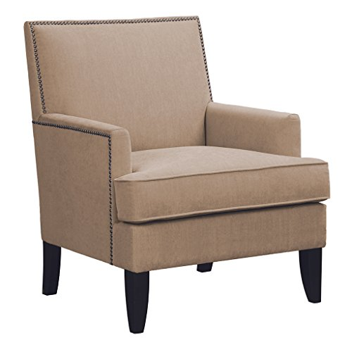 Madison Park 5060SND Colton Accent Hardwood, Brich Wood, Faux Velvet, Bedroom Lounge Mid Century Modern Deep Seating, High Back Club Style Arm-Chair Living Room Furniture, Sand