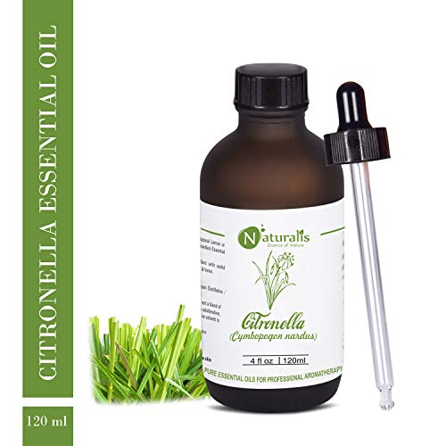 Naturalis Essence of Nature Citronella Essential Oil for Hair & Skin Care, Mosquito Repellent and Refreshing Aroma (Java…