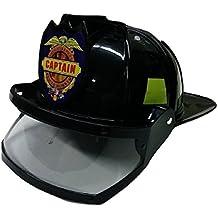 Nicky Bigs Novelties Adult Child Fire Chief Firefighter Fireman Black Helmet With Visor Costume