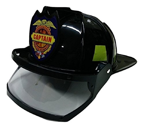 Adult Child Fire Chief Firefighter Fireman Black Helmet with Visor Costume - Black Fire Chief Hat