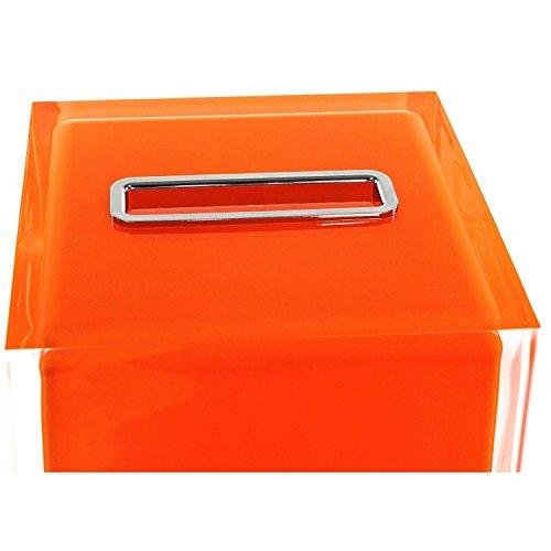 Gedy RA02-67 Rainbow Thermoplastic Resin Square Tissue Box Cover, Orange