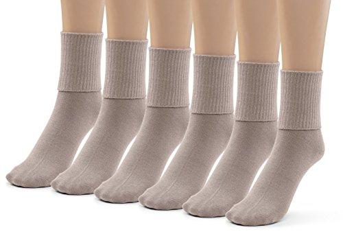 Silky Toes 6 Pk Triple Roll Bamboo School Socks, Turn Cuff Girls Boys Casual Crew Socks (Large (9-11), Khaki (6 Pack))