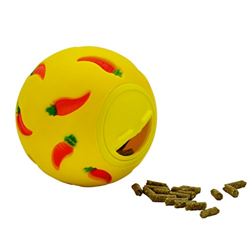 Niteangel Treat Ball, Snack Ball for Small Animals (Small, Yellow)