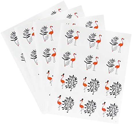 Amosfun Runde Etiketten Flamingo Dichtungsaufkleber handgefertigt 10 Blatt Decals für Candy Bag Backverpackung